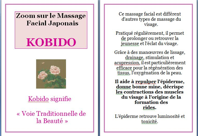 zoom sur le massage facial japonais kobido essences cocooning. Black Bedroom Furniture Sets. Home Design Ideas