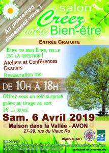 flyer du salon créez votre bien-être à avon 6 avril 2019