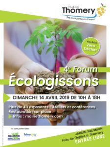affiche du forum écologissons à Thomery dimanche 14 avril 2019