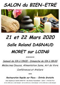 affiche salon du bien-être à Moret sur Loing 21 et 22 mars 2020