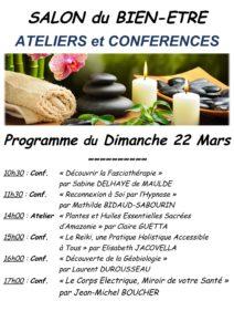 programme du dimanche 22 mars du salon du Bien-être à Moret sur Loing
