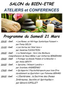 programme du samedi 21 mars du salon du Bien-être à Moret sur Loing