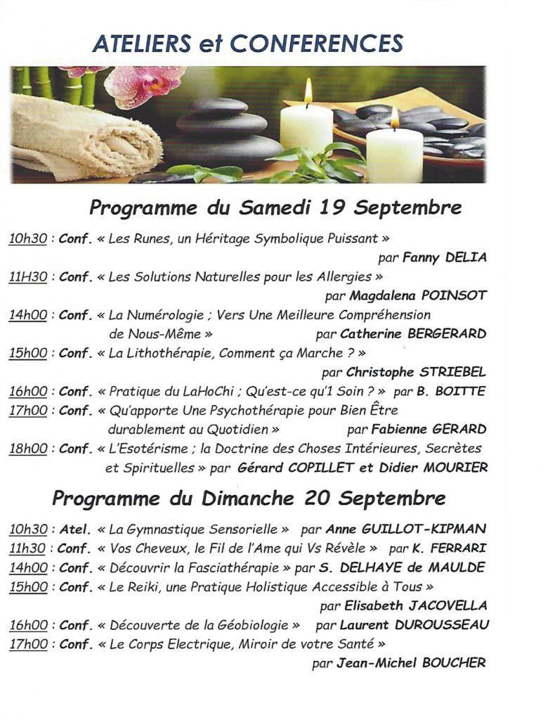 programme des conférences du salon du Bien-être de Moret sur Loing des 19 et 20 septembre 2020